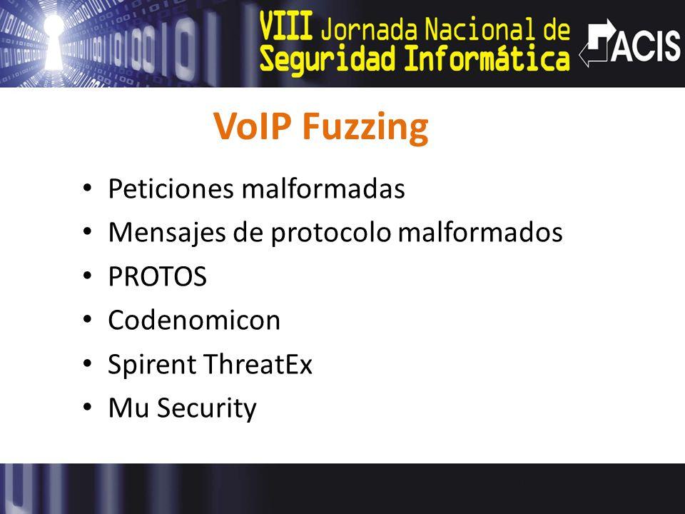 VoIP Fuzzing Peticiones malformadas Mensajes de protocolo malformados