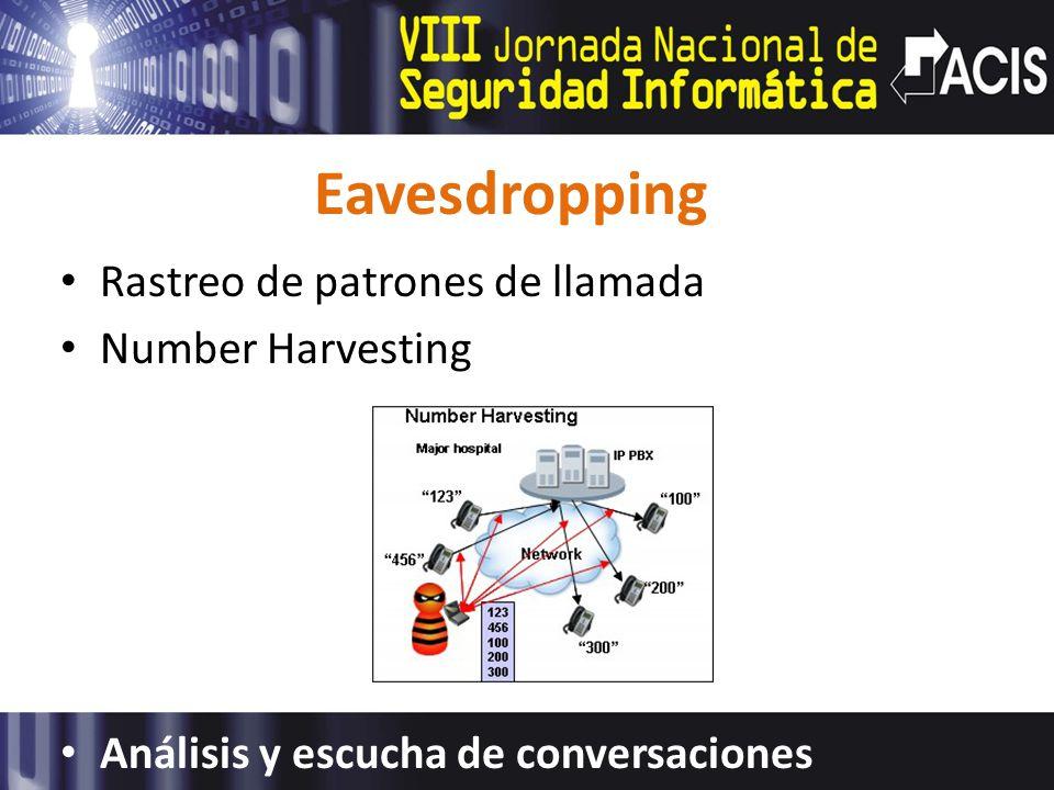 Eavesdropping Rastreo de patrones de llamada Number Harvesting