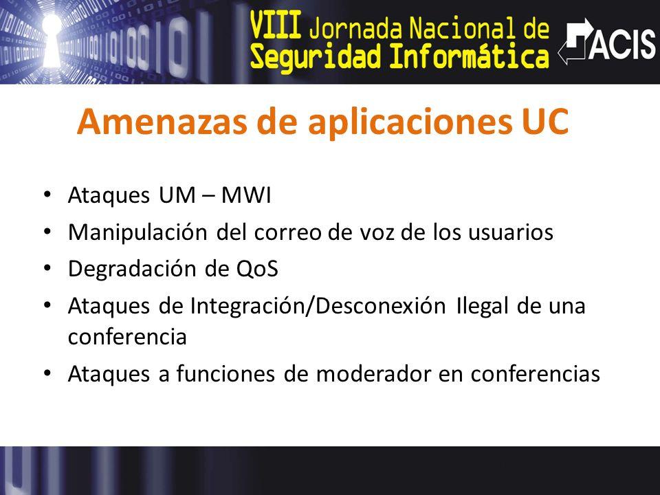 Amenazas de aplicaciones UC