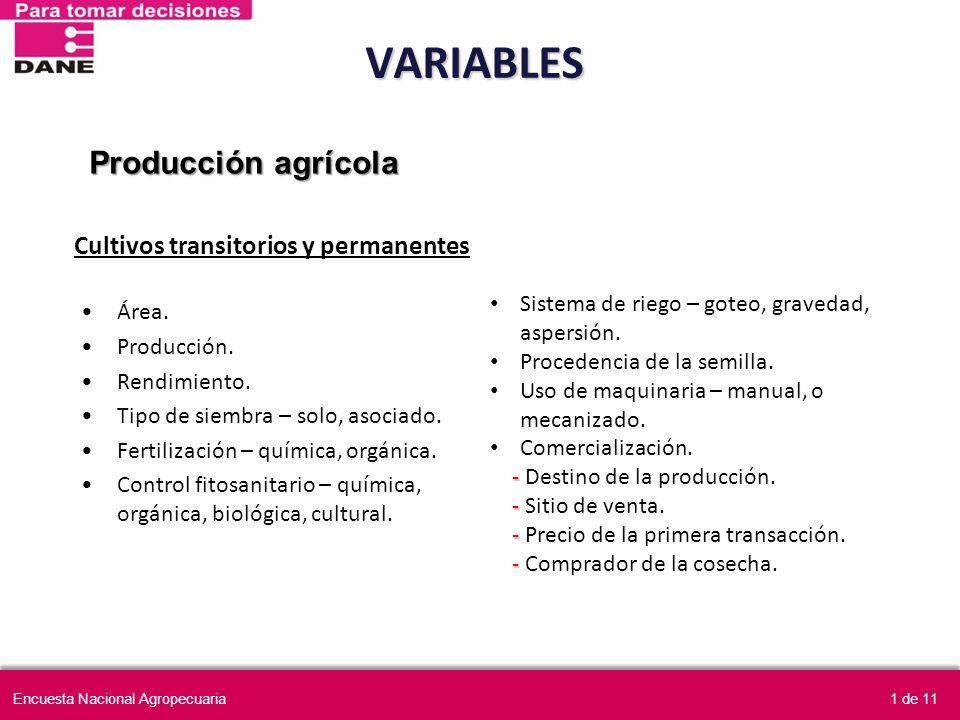 VARIABLES Producción agrícola Cultivos transitorios y permanentes