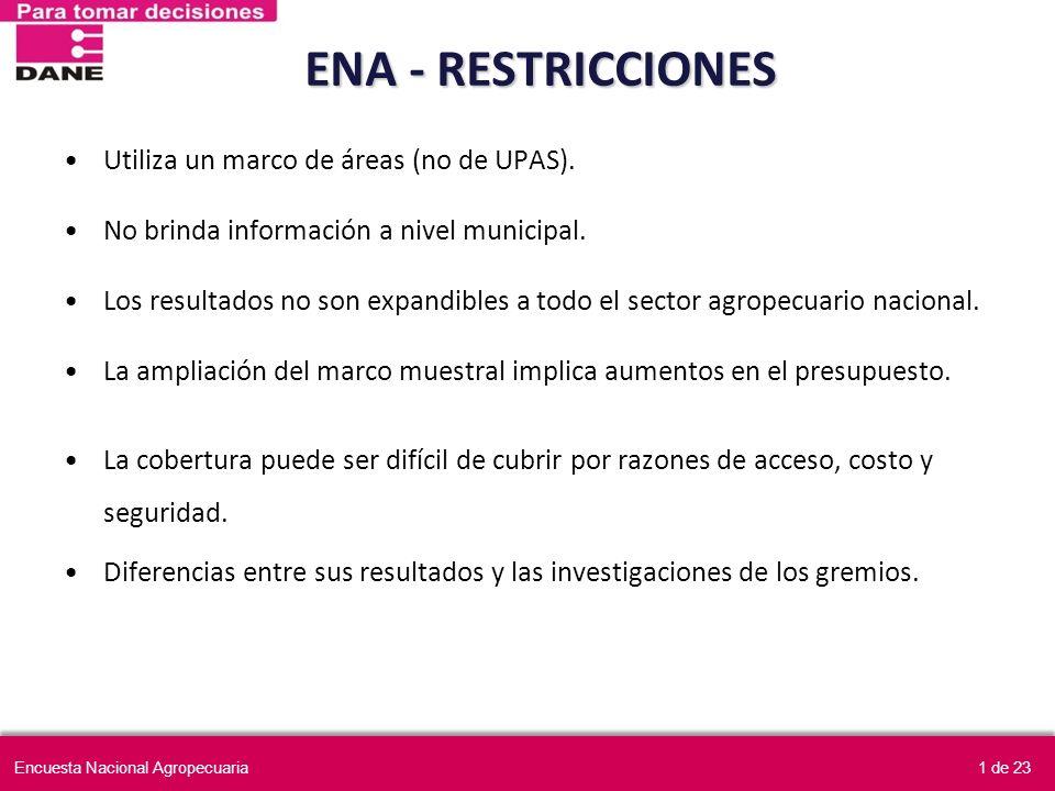 ENA - RESTRICCIONES Utiliza un marco de áreas (no de UPAS).