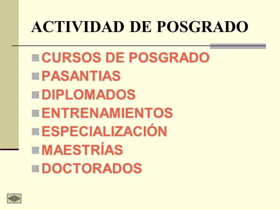 ACTIVIDAD DE POSGRADO CURSOS DE POSGRADO PASANTIAS DIPLOMADOS