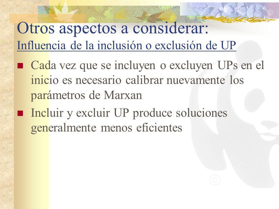 Otros aspectos a considerar: Influencia de la inclusión o exclusión de UP