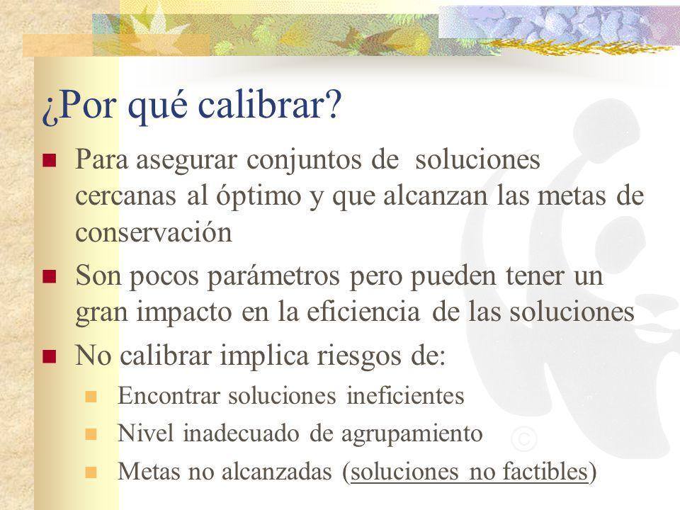 ¿Por qué calibrar Para asegurar conjuntos de soluciones cercanas al óptimo y que alcanzan las metas de conservación.