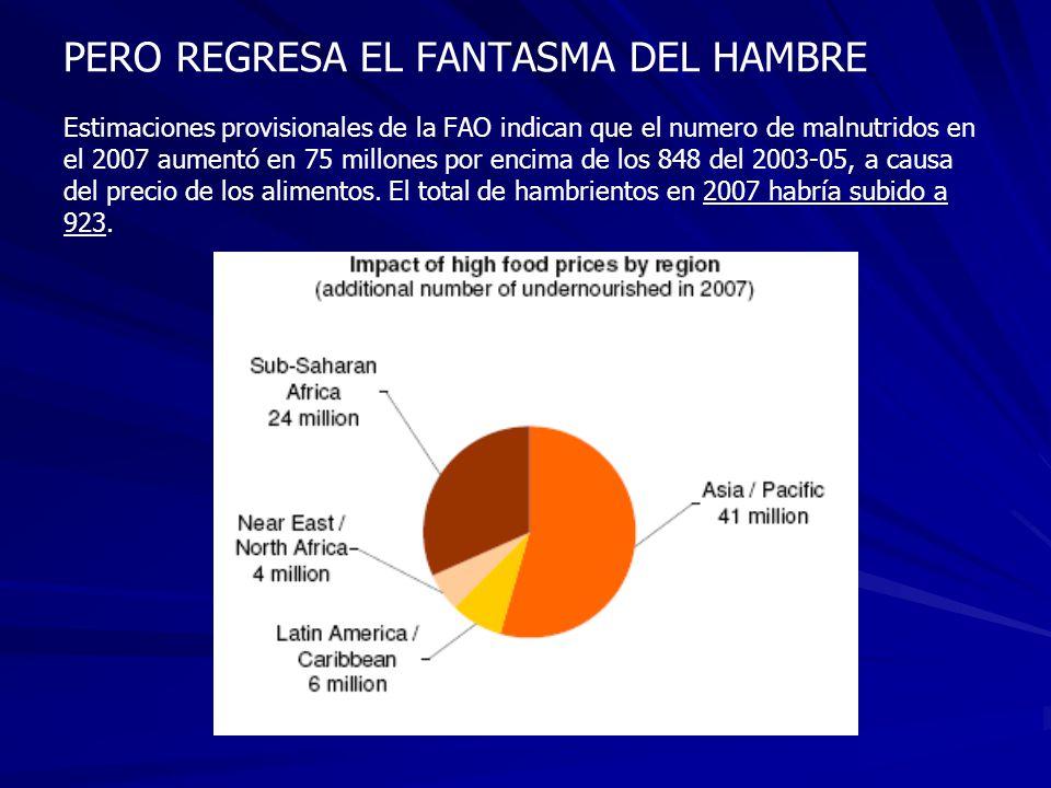 PERO REGRESA EL FANTASMA DEL HAMBRE Estimaciones provisionales de la FAO indican que el numero de malnutridos en el 2007 aumentó en 75 millones por encima de los 848 del 2003-05, a causa del precio de los alimentos.