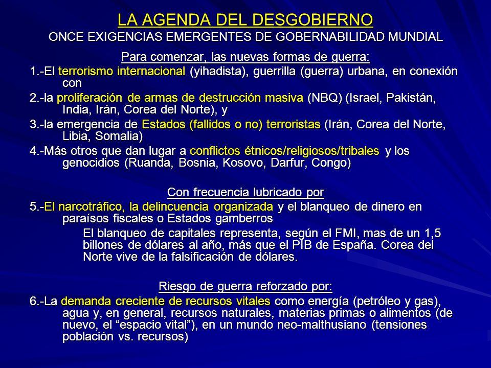 LA AGENDA DEL DESGOBIERNO ONCE EXIGENCIAS EMERGENTES DE GOBERNABILIDAD MUNDIAL