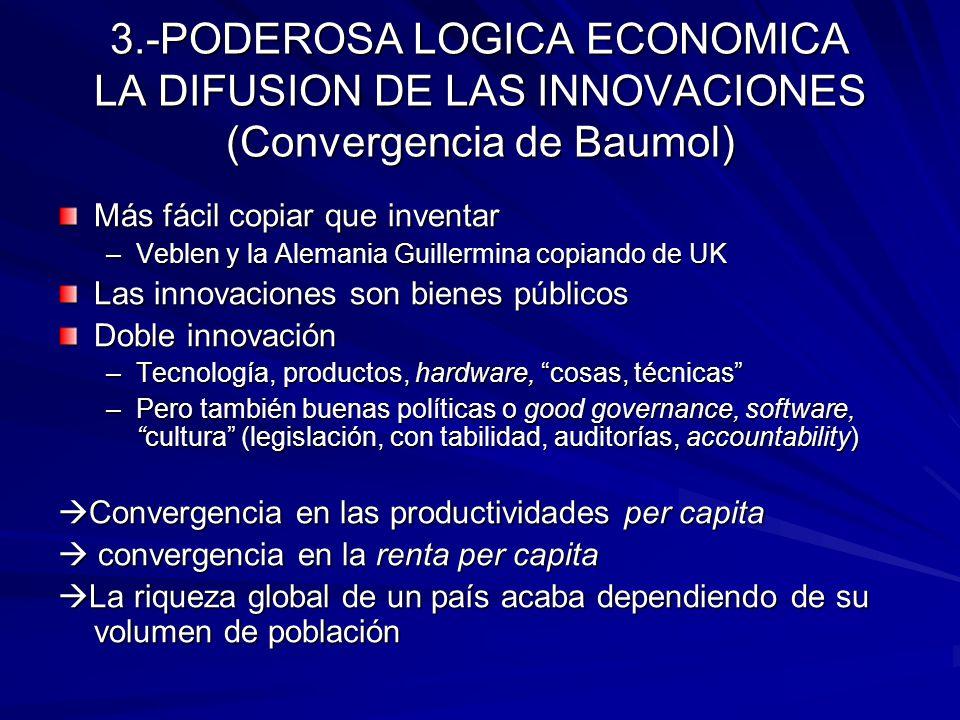 3.-PODEROSA LOGICA ECONOMICA LA DIFUSION DE LAS INNOVACIONES (Convergencia de Baumol)