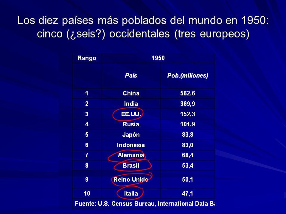 Los diez países más poblados del mundo en 1950: cinco (¿seis