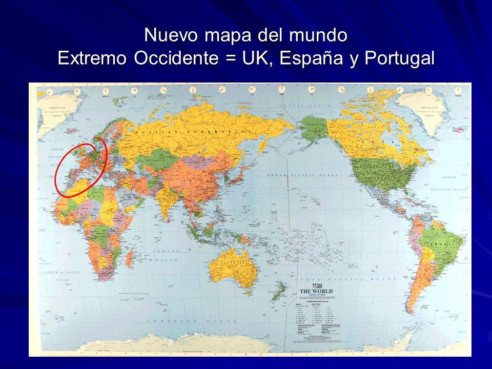 Nuevo mapa del mundo Extremo Occidente = UK, España y Portugal