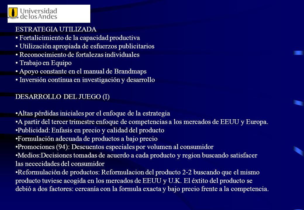 ESTRATEGIA UTILIZADA Fortalicimiento de la capacidad productiva. Utilización apropiada de esfuerzos publicitarios.