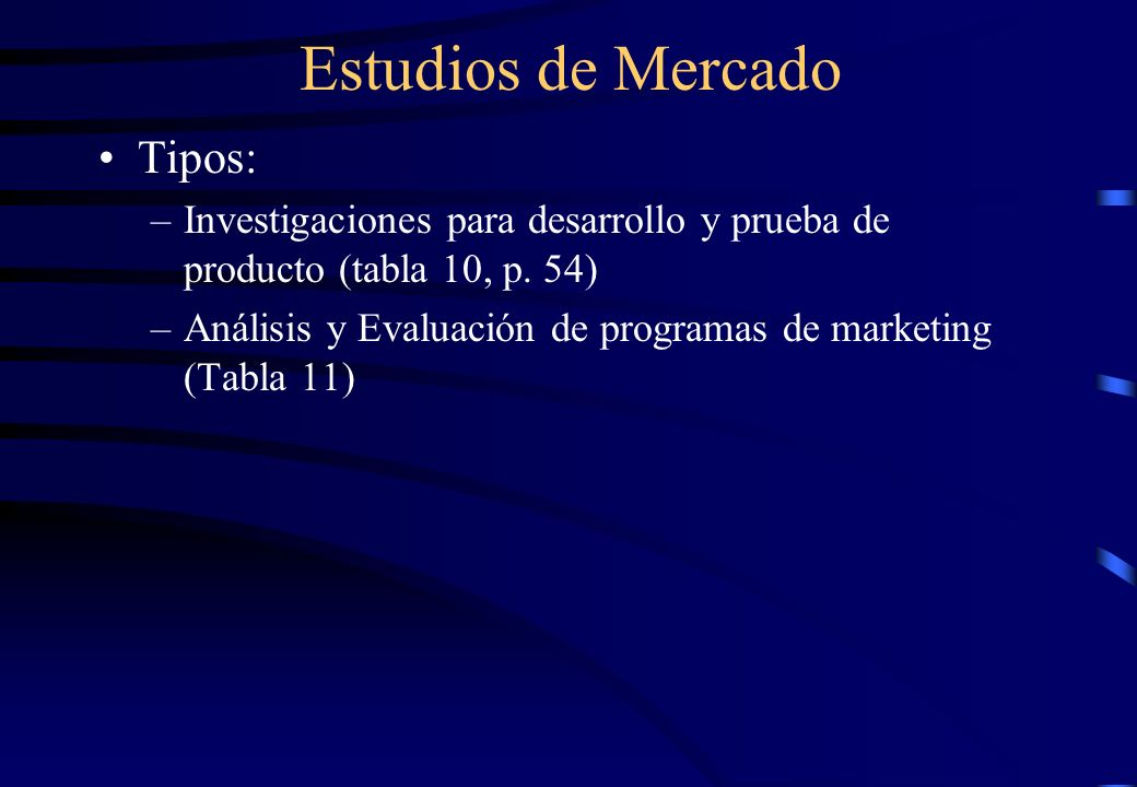 Estudios de Mercado Tipos: