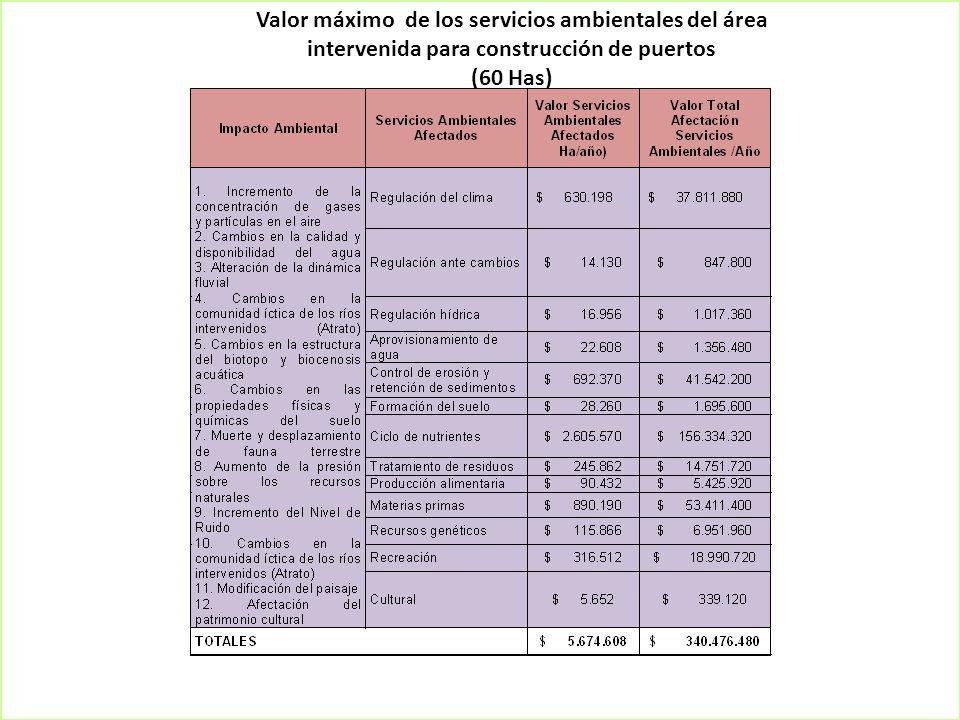 Valor máximo de los servicios ambientales del área intervenida para construcción de puertos