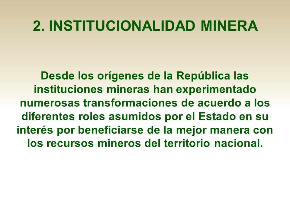 2. INSTITUCIONALIDAD MINERA