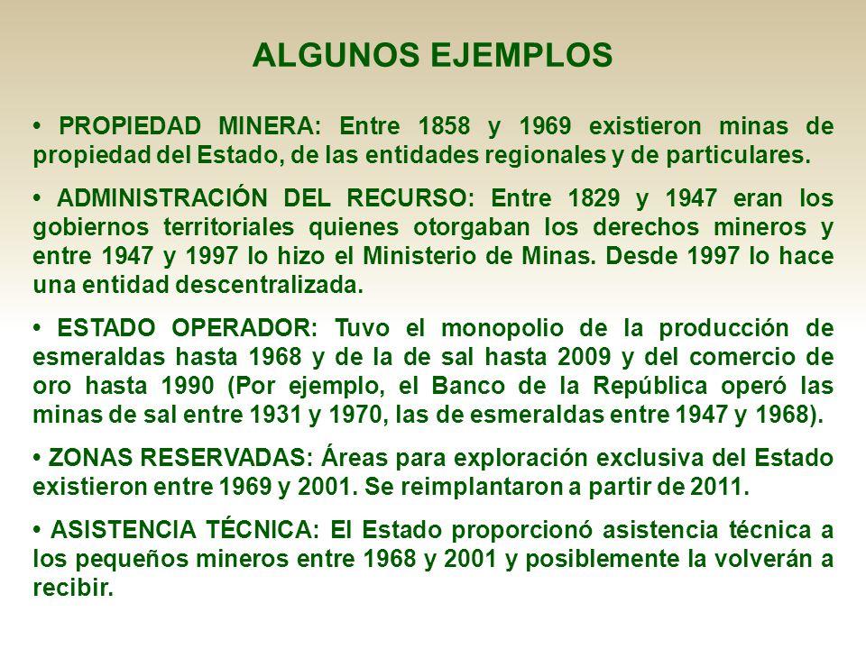ALGUNOS EJEMPLOS • PROPIEDAD MINERA: Entre 1858 y 1969 existieron minas de propiedad del Estado, de las entidades regionales y de particulares.