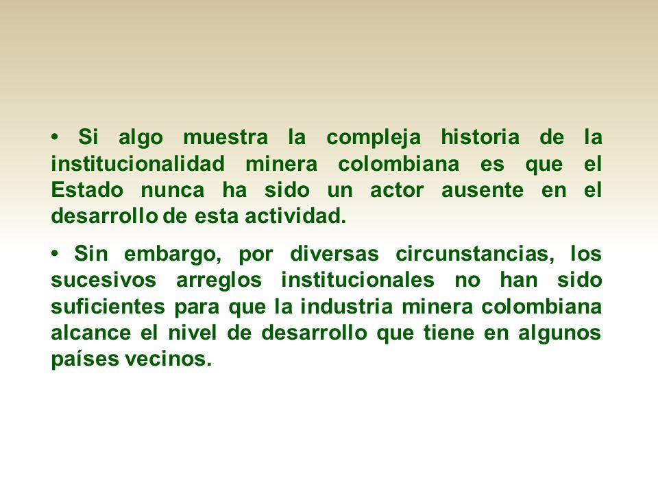 • Si algo muestra la compleja historia de la institucionalidad minera colombiana es que el Estado nunca ha sido un actor ausente en el desarrollo de esta actividad.