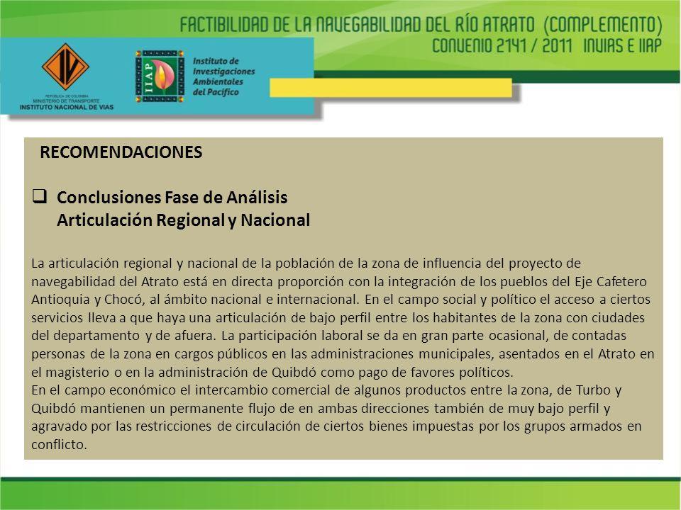Conclusiones Fase de Análisis Articulación regional y nacional