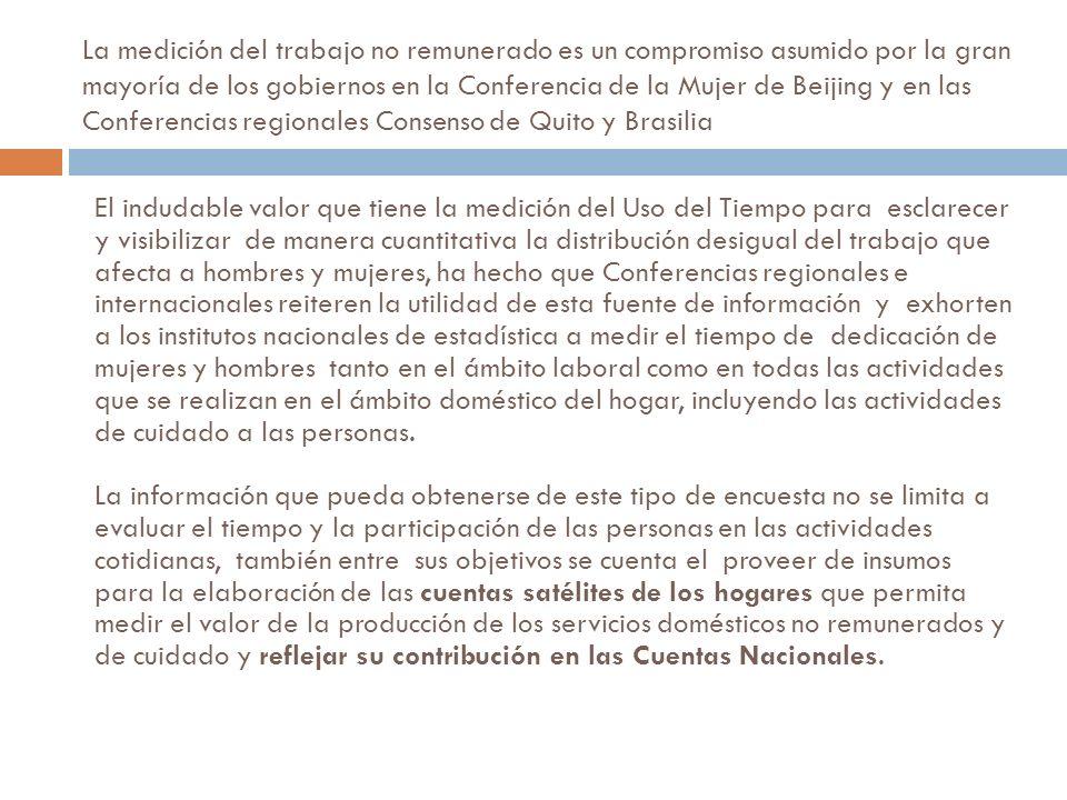La medición del trabajo no remunerado es un compromiso asumido por la gran mayoría de los gobiernos en la Conferencia de la Mujer de Beijing y en las Conferencias regionales Consenso de Quito y Brasilia