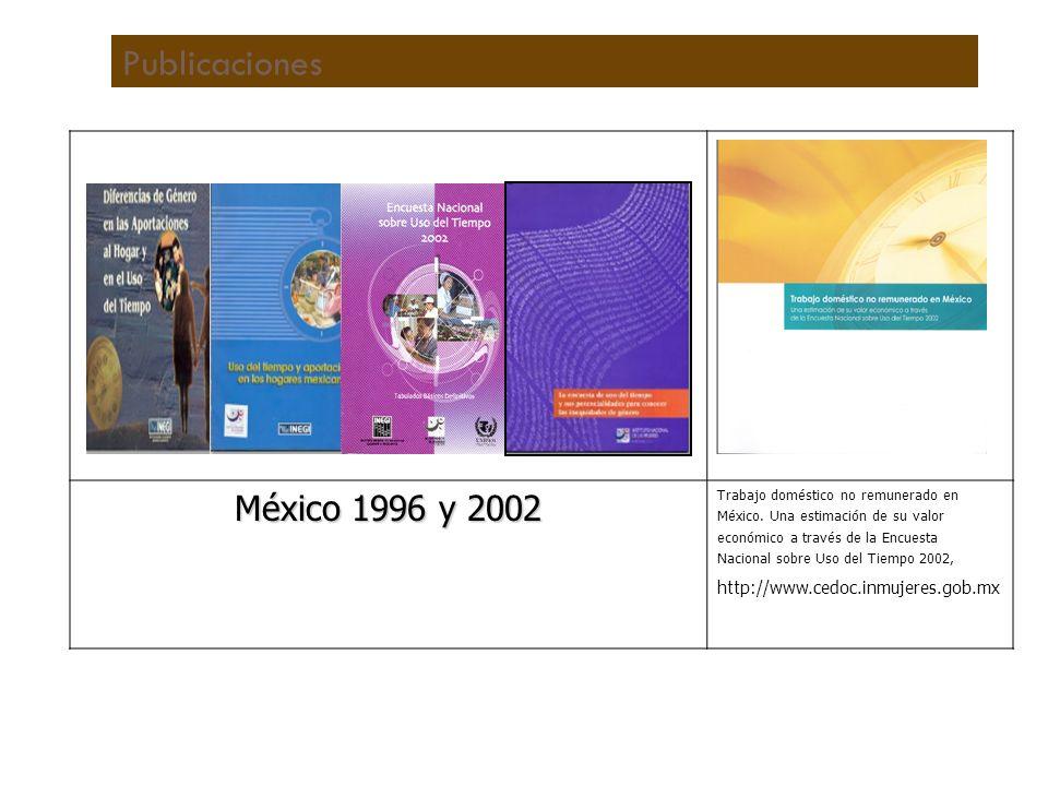 Publicaciones México 1996 y 2002 http://www.cedoc.inmujeres.gob.mx