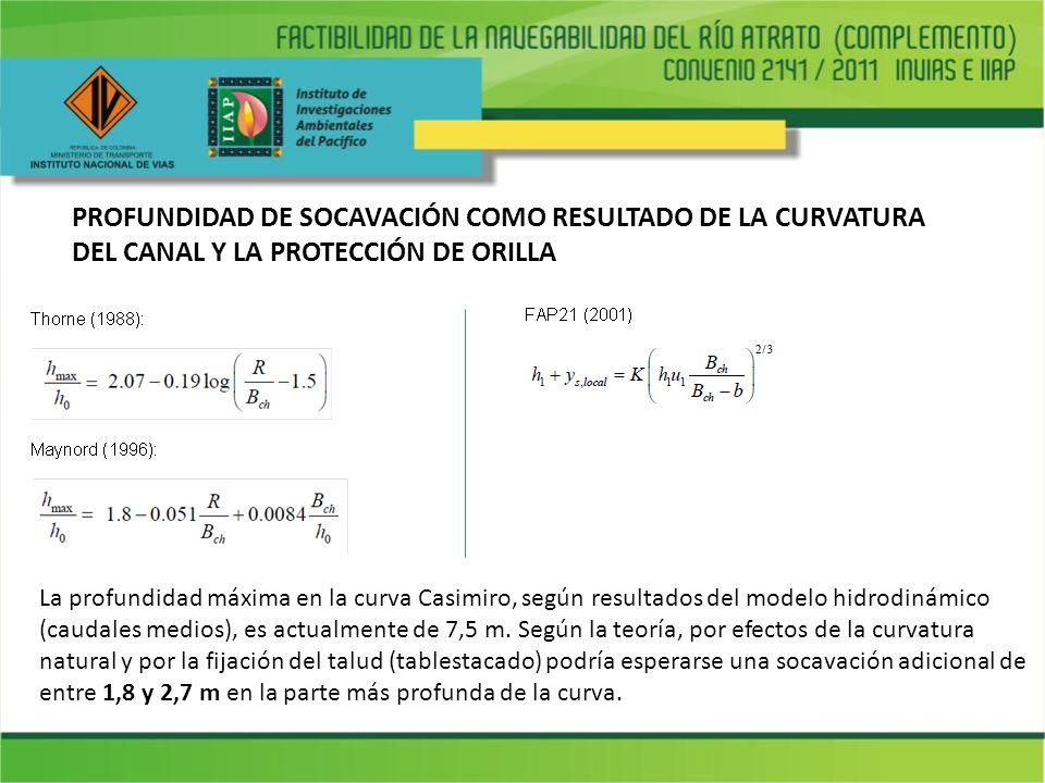 PROFUNDIDAD DE SOCAVACIÓN COMO RESULTADO DE LA CURVATURA DEL CANAL Y LA PROTECCIÓN DE ORILLA