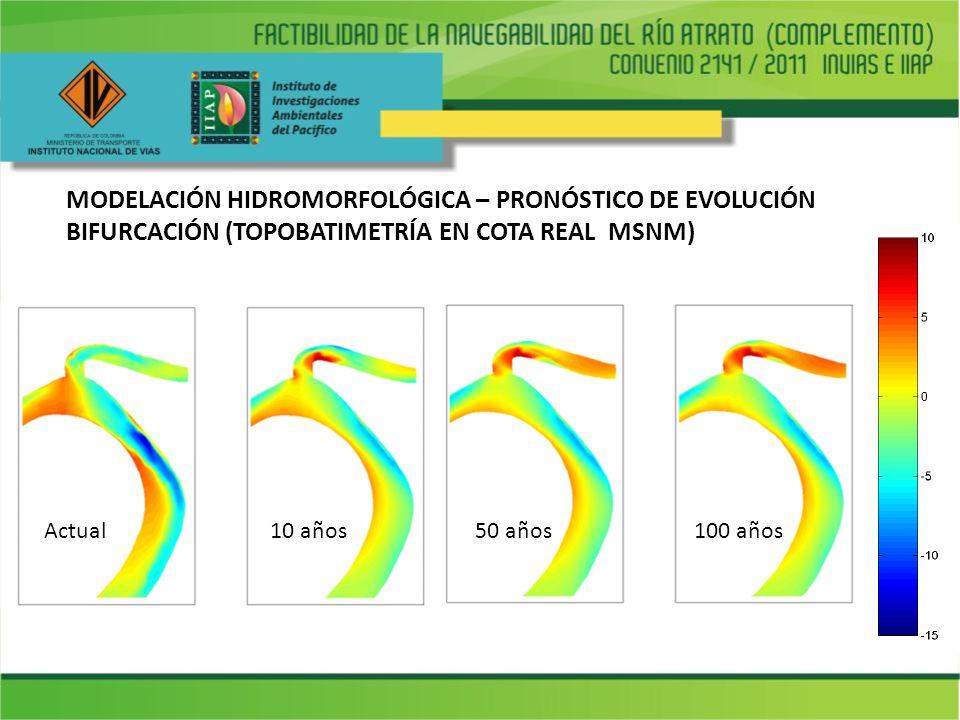 MODELACIÓN HIDROMORFOLÓGICA – PRONÓSTICO DE EVOLUCIÓN BIFURCACIÓN (TOPOBATIMETRÍA EN COTA REAL MSNM)