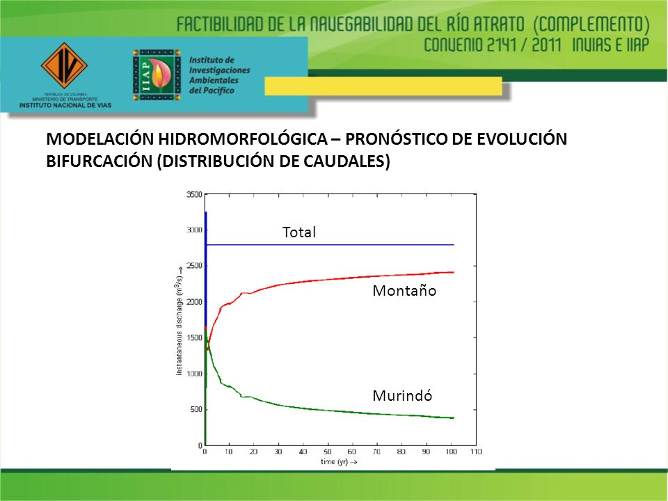 MODELACIÓN HIDROMORFOLÓGICA – PRONÓSTICO DE EVOLUCIÓN BIFURCACIÓN (DISTRIBUCIÓN DE CAUDALES)