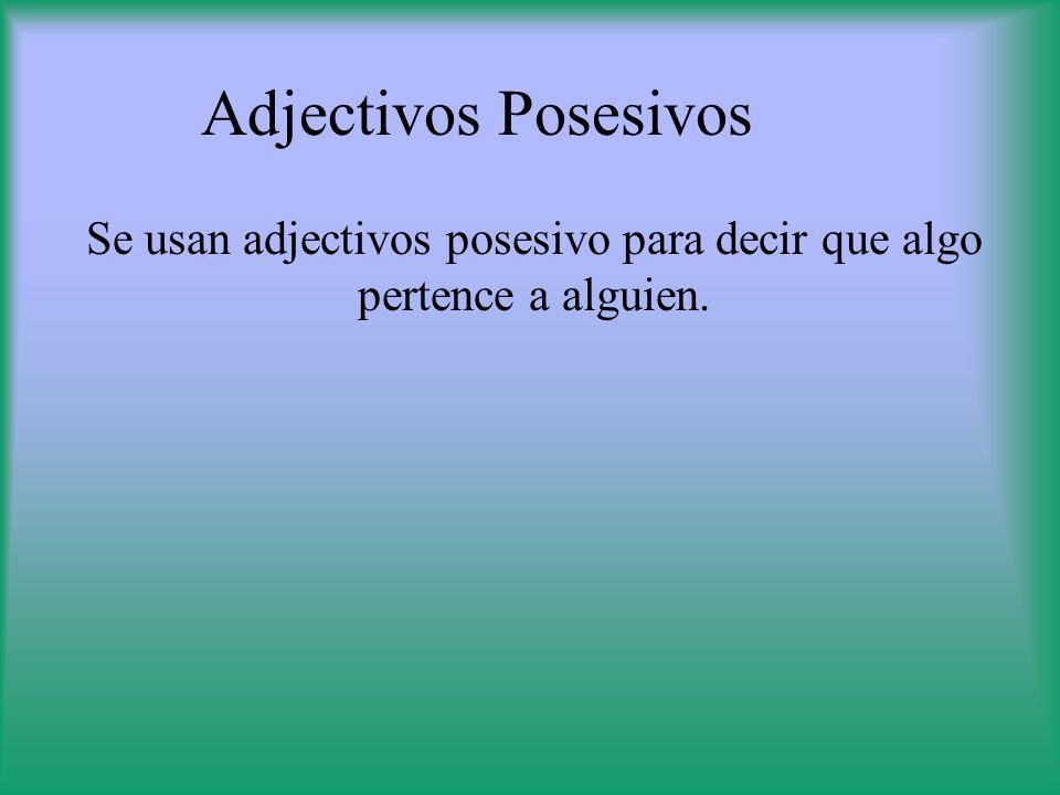 Se usan adjectivos posesivo para decir que algo pertence a alguien.