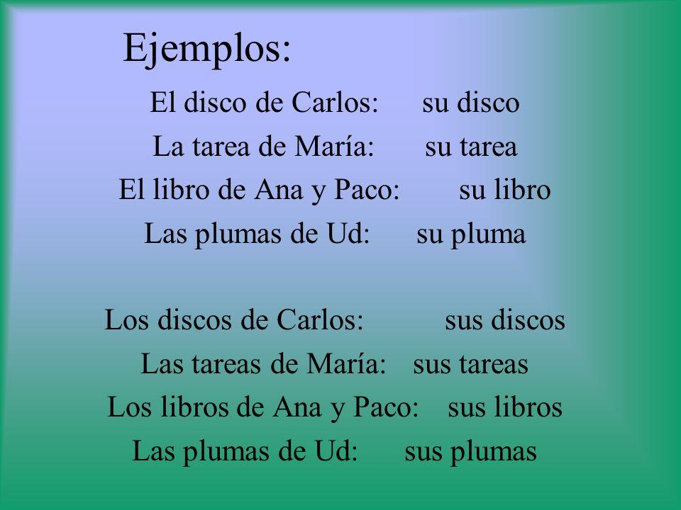 Ejemplos: El disco de Carlos: su disco La tarea de María: su tarea