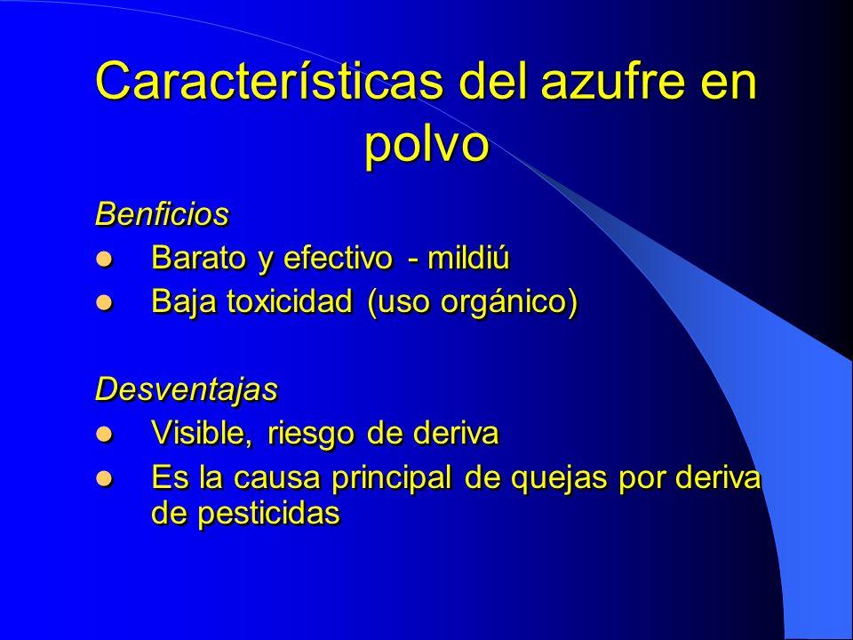 Características del azufre en polvo