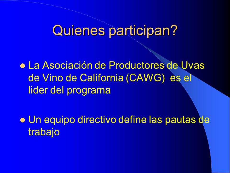 Quienes participan La Asociación de Productores de Uvas de Vino de California (CAWG) es el lider del programa.