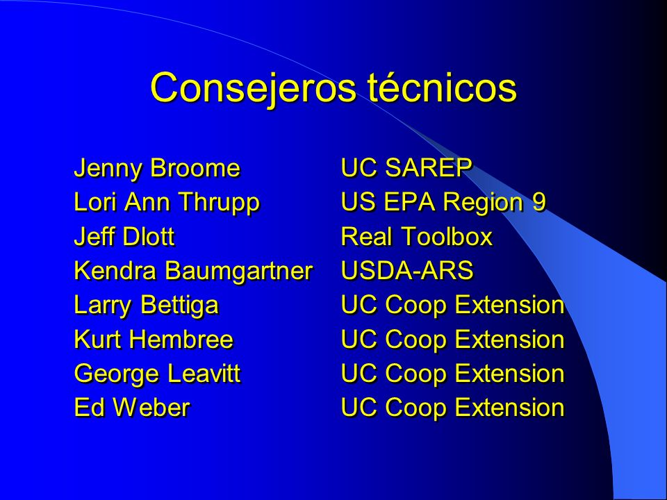 Consejeros técnicos Jenny Broome UC SAREP
