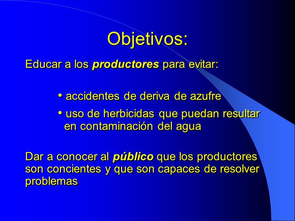 Objetivos: Educar a los productores para evitar: