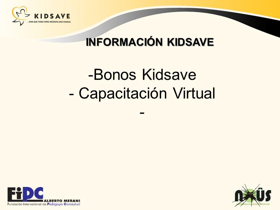 INFORMACIÓN KIDSAVE Bonos Kidsave Capacitación Virtual