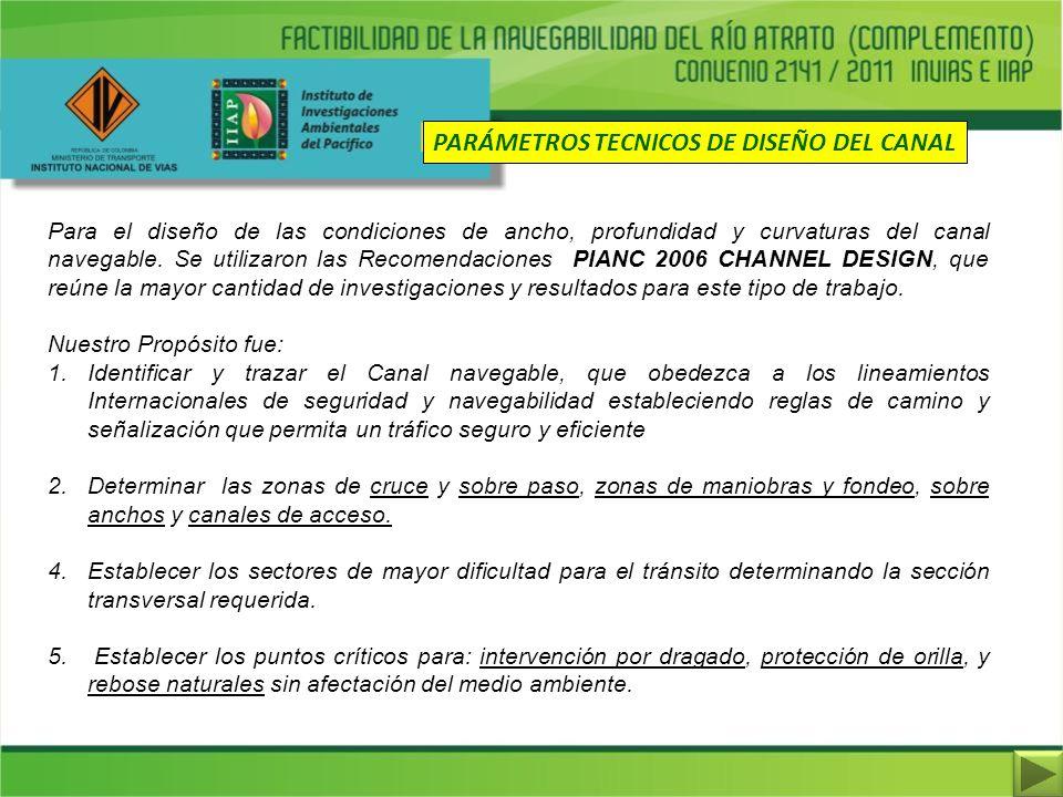 PARÁMETROS TECNICOS DE DISEÑO DEL CANAL