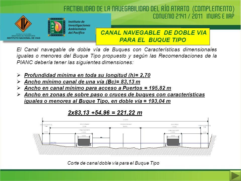 CANAL NAVEGABLE DE DOBLE VIA PARA EL BUQUE TIPO