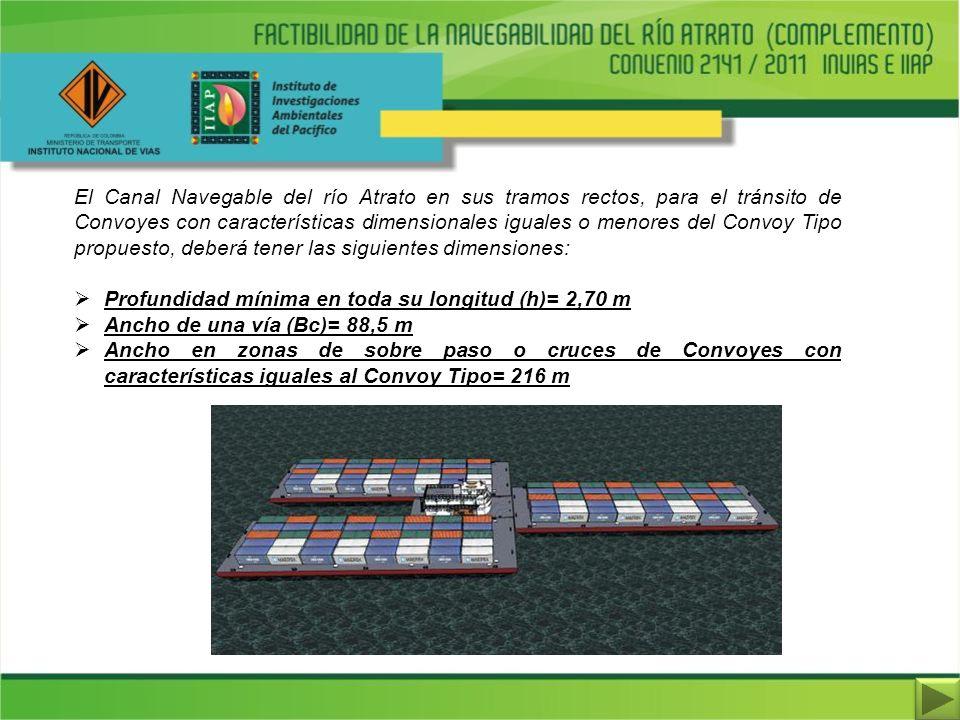 El Canal Navegable del río Atrato en sus tramos rectos, para el tránsito de Convoyes con características dimensionales iguales o menores del Convoy Tipo propuesto, deberá tener las siguientes dimensiones: