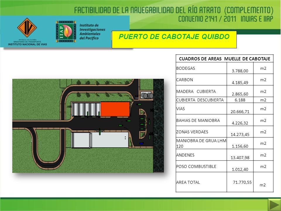 PUERTO DE CABOTAJE QUIBDO CUADROS DE AREAS MUELLE DE CABOTAJE