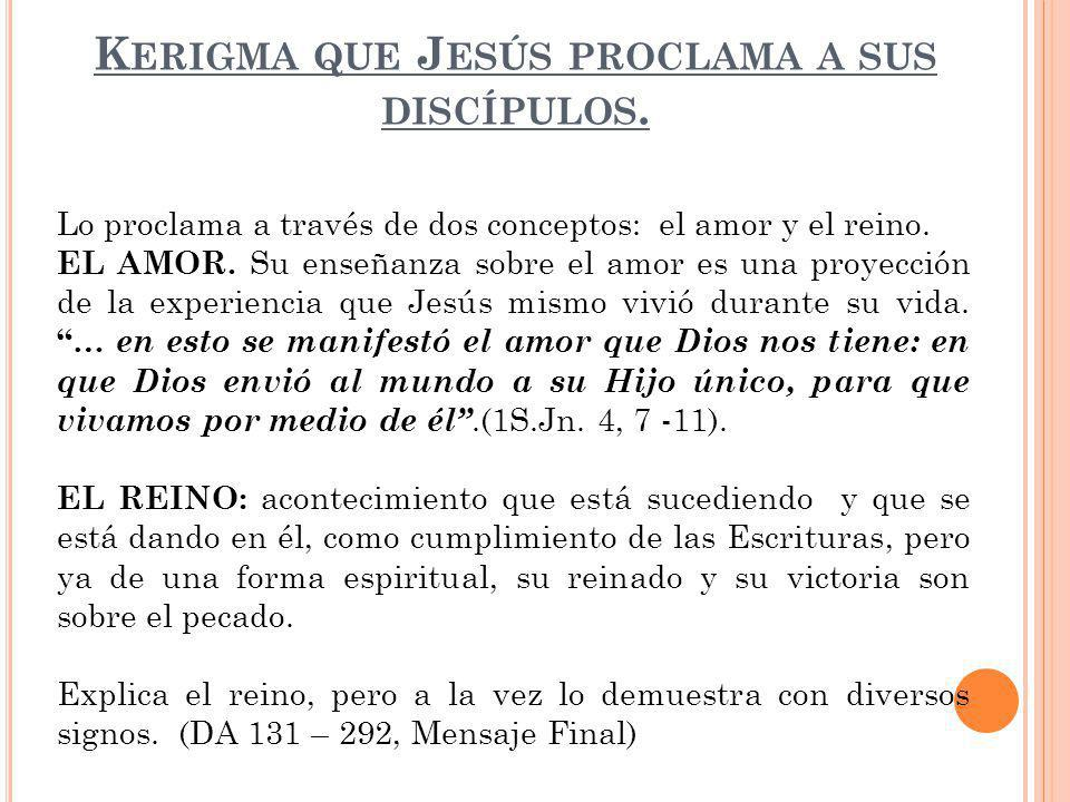 Kerigma que Jesús proclama a sus discípulos.