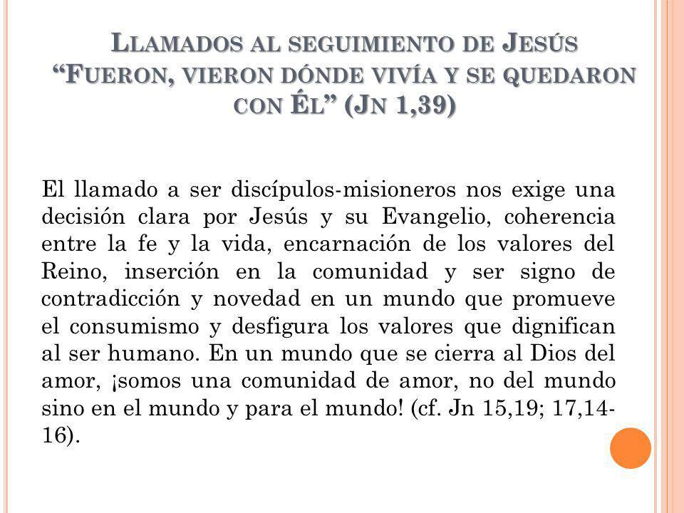 Llamados al seguimiento de Jesús Fueron, vieron dónde vivía y se quedaron con Él (Jn 1,39)