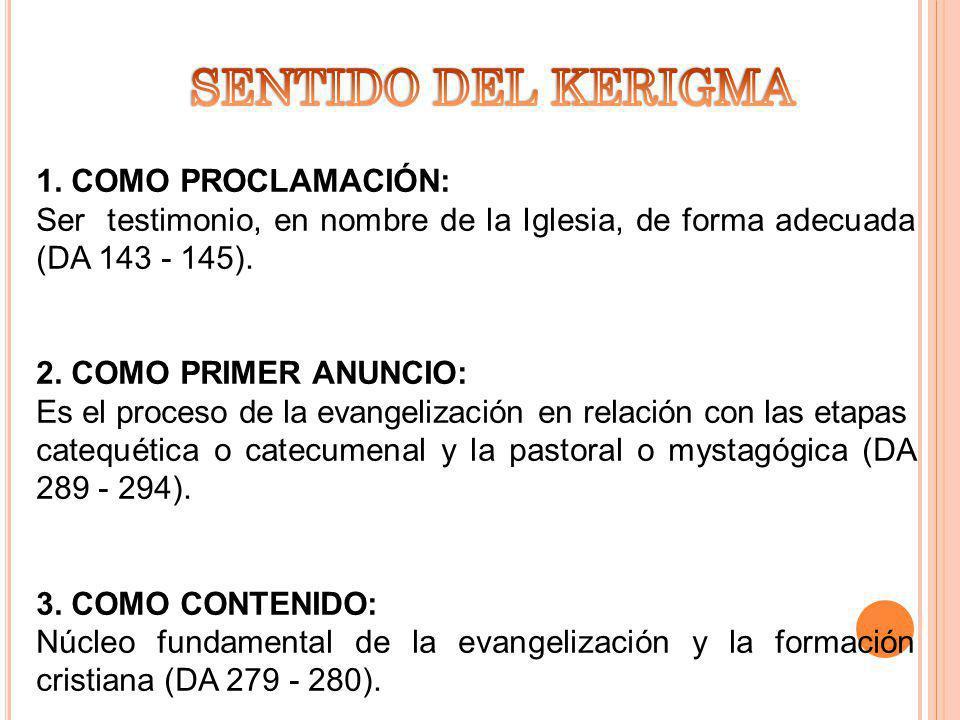 SENTIDO DEL KERIGMA 1. COMO PROCLAMACIÓN: