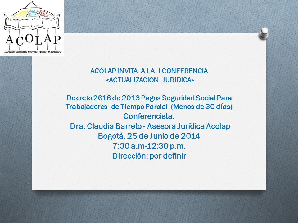 Dra. Claudia Barreto - Asesora Jurídica Acolap