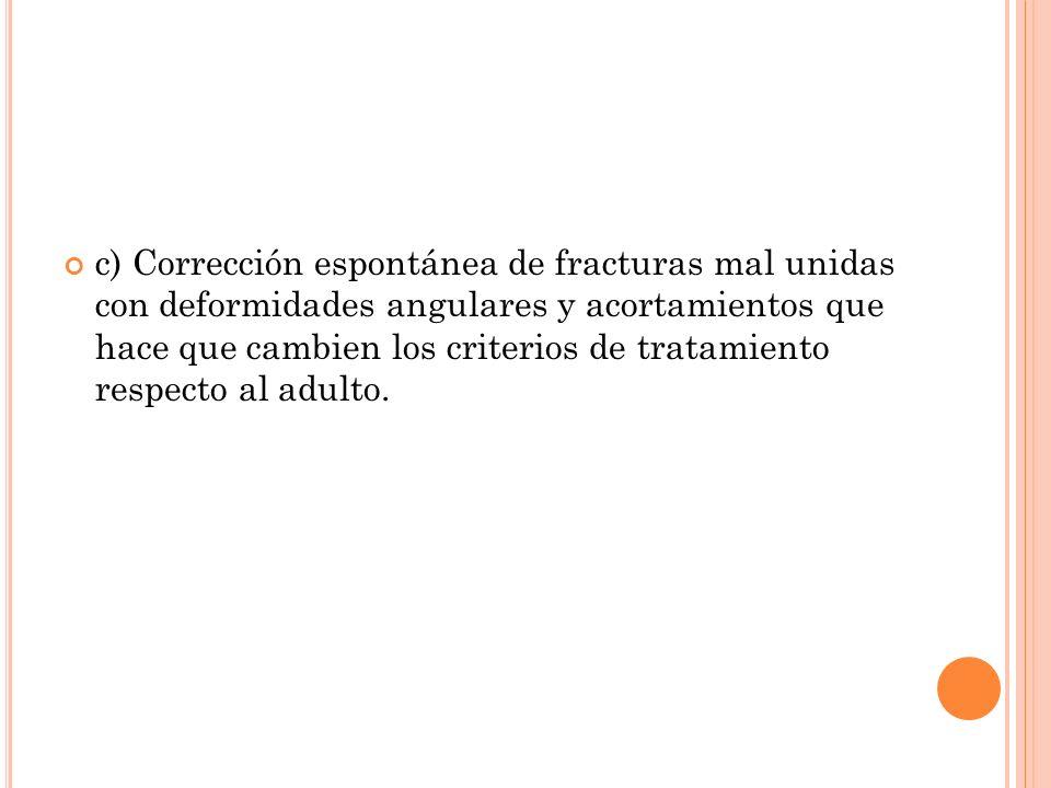 c) Corrección espontánea de fracturas mal unidas con deformidades angulares y acortamientos que hace que cambien los criterios de tratamiento respecto al adulto.