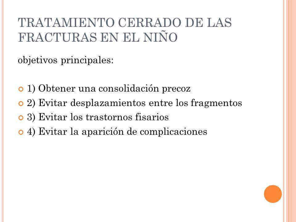 TRATAMIENTO CERRADO DE LAS FRACTURAS EN EL NIÑO