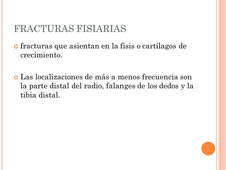 FRACTURAS FISIARIAS fracturas que asientan en la fisis o cartílagos de crecimiento.
