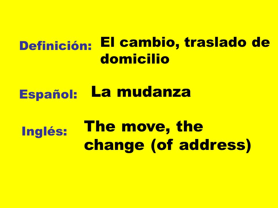 The move, the change (of address)
