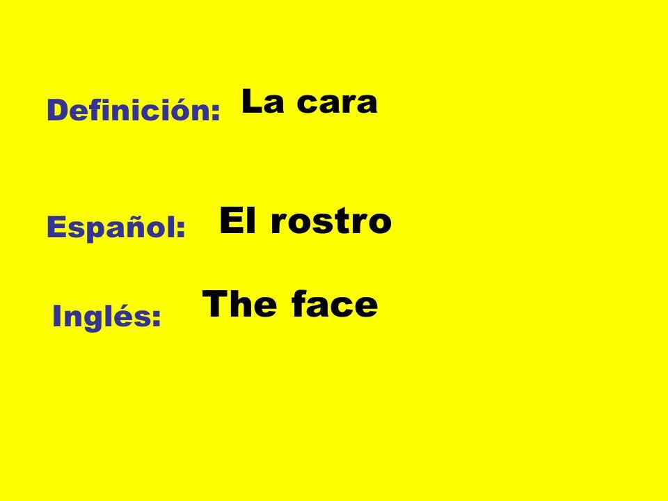 La cara Definición: El rostro Español: The face Inglés: