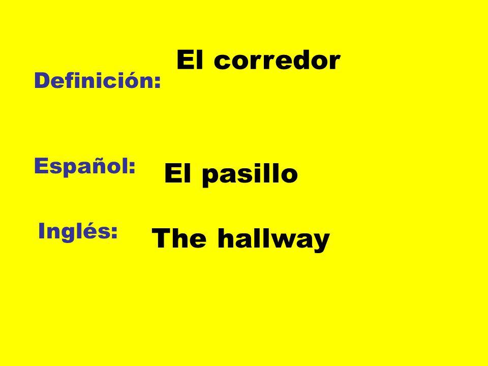 El corredor Definición: Español: El pasillo Inglés: The hallway