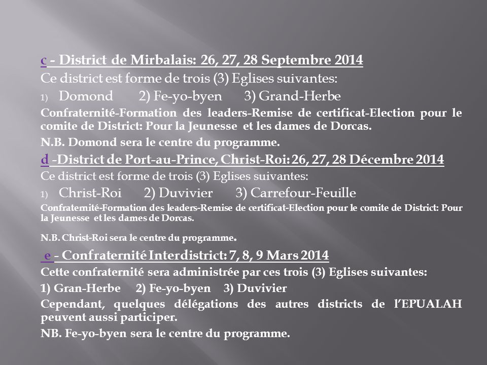c - District de Mirbalais: 26, 27, 28 Septembre 2014