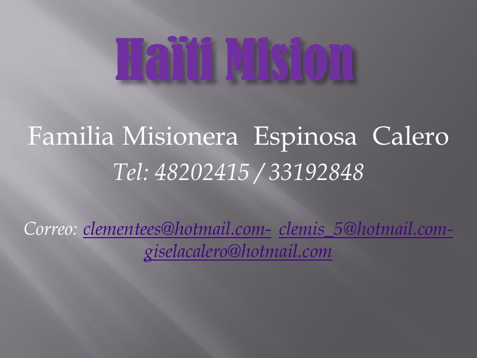 Familia Misionera Espinosa Calero
