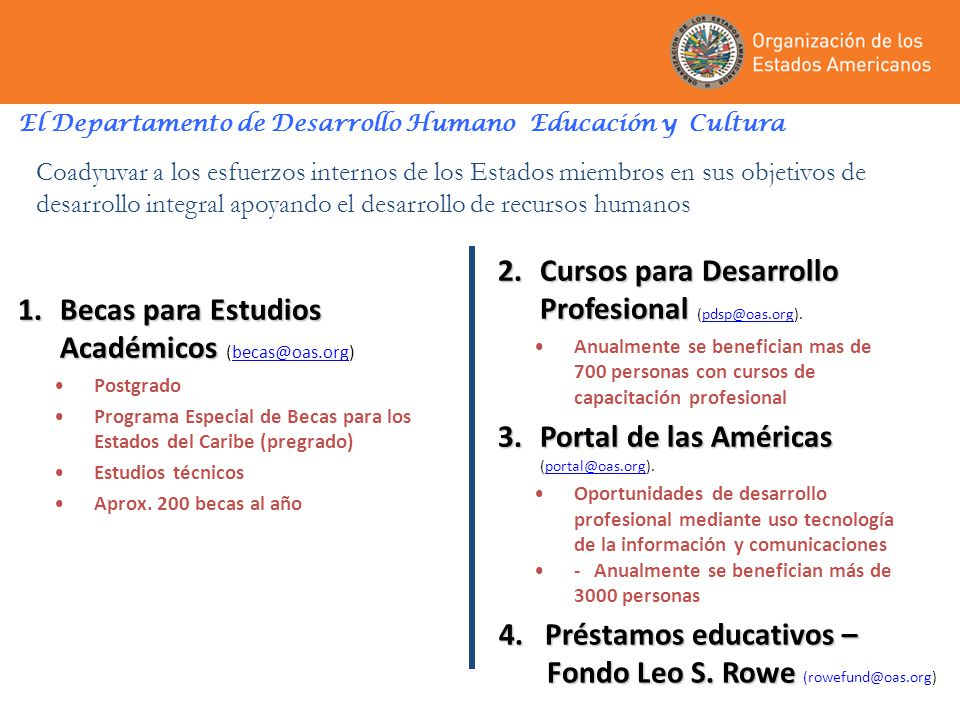 El Departamento de Desarrollo Humano Educación y Cultura