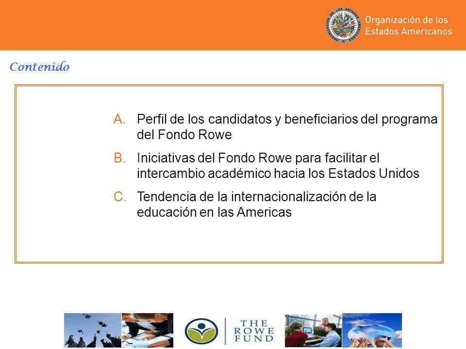 Perfil de los candidatos y beneficiarios del programa del Fondo Rowe
